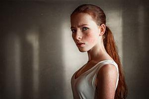 redhead ekaterina voronina model women katya voronina georgy chernyadyev portrait