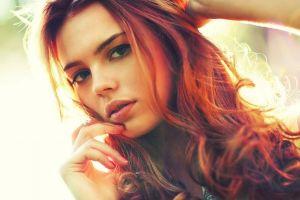 redhead face curly hair darya lebedeva women