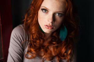redhead face women portrait
