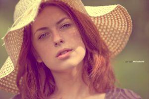 redhead jack russell women portrait face blue eyes