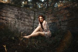 redhead looking at viewer women outdoors portrait model barefoot long hair flower dress women