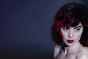 redhead red lipstick dyed hair bare shoulders women singer looking away