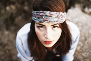 redhead red lipstick looking up women headband