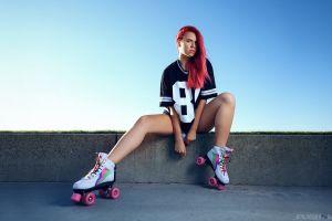 redhead rollerskates model women