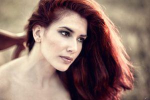 redhead women face long hair hazel eyes bare shoulders