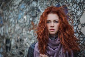 redhead women face scarf pale black jackets jacket ivan warhammer portrait model