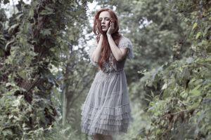 redhead women outdoors model long hair women