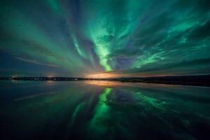 reflection aurorae landscape nature starred sky