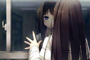 reflection brunette manga long hair purple eyes anime girls hands