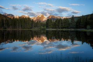reflection lake pine trees trees landscape nature