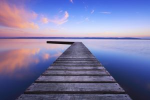 reflection landscape lake pier morning
