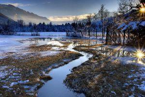 reflection landscape nature pond mountains winter