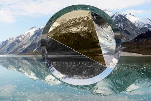 reflection photo manipulation mountains lake nature snow water polyscape snowy peak hills