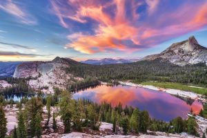 reflection pine trees sunset clouds mountains landscape lake nature trees