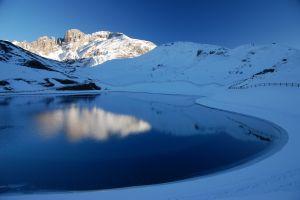 reflection snow mountains lake