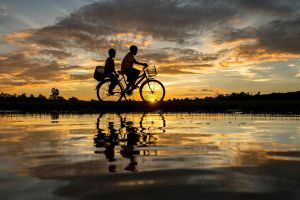 reflection vehicle water sunlight asia outdoors sky nature bicycle
