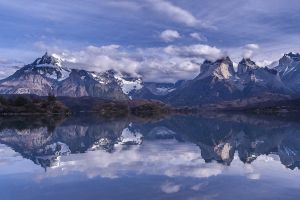 reflection water mountains torres del paine summer trees landscape snowy peak nature morning lake chile patagonia clouds