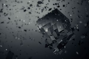 render cgi digital art monochrome cube