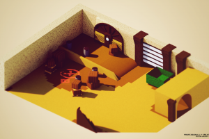 render low poly counter-strike: global offensive isometric render