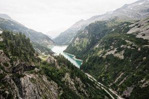 reservoir mountains nature landscape alps