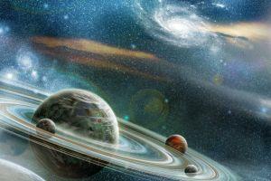 rings space universe planet glowing digital art nebula lens flare stars