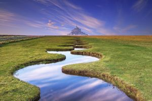 river architecture fence nature hills france castle horizon reflection normandia photo manipulation water stream landscape field