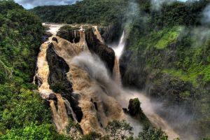 river barron falls nature landscape australia waterfall
