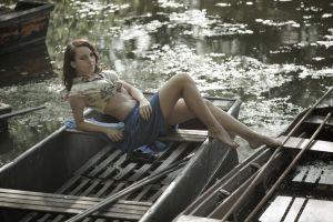 river boat sitting women skirt