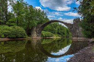 river bridge water germany trees photography clouds