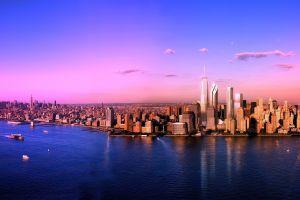 river cityscape panoramas city urban new york city coast sunset manhattan