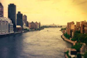 river east river tilt shift new york city city