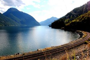 river mountains railway landscape nature