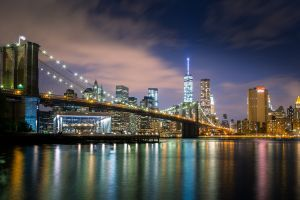river night new york city city lights city brooklyn bridge