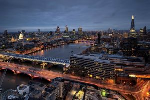 river thames city lights light trails city london bridge cityscape