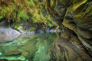 river water emerald moss canyon landscape nature shrubs