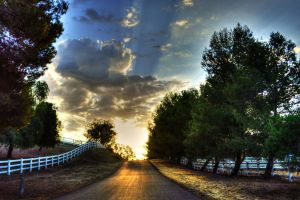 road clouds fence outdoors