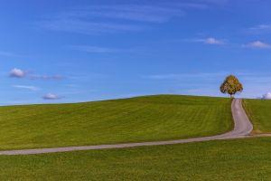 road clouds minimalism grass field nature sky hills landscape trees