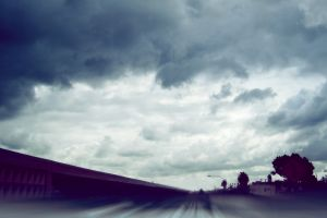 road clouds photography