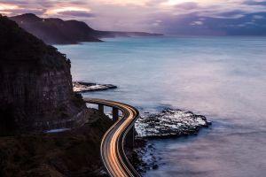 road coast sea cliff long exposure bridge