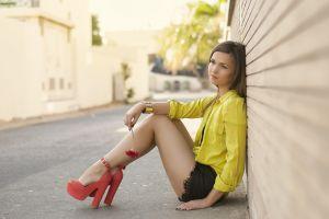 road high heels wall flowers sitting women model