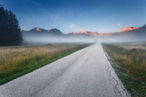 road landscape mist mountains morning