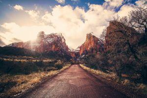 road mountains nature landscape
