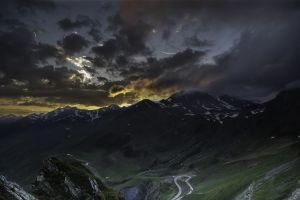 road nature snowy peak france sunset clouds dark valley landscape mountains