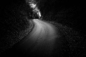 road outdoors dark monochrome