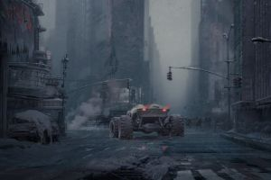 road people apocalyptic wreck car dystopian science fiction building artwork