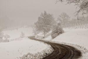 road snow winter dirt road white mist