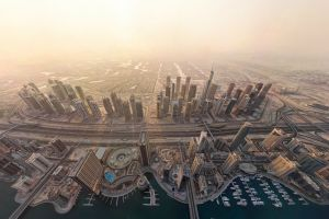 road urban city dock aerial view cityscape dubai