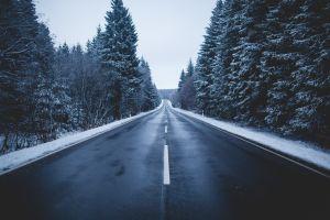 road winter snow wet road