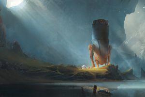 robot fantasy art sun rays drawing landscape exphrasis mountains lake digital art