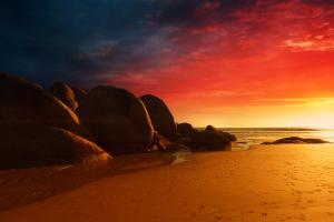 rock beach sunset sky sand